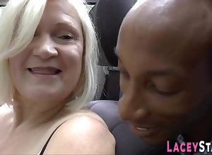 evil granny Lacey Starr alongside interracial threeway