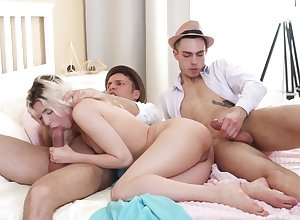 Cornelia gets laid nigh three guys increased by loves redness
