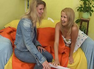Pussy put to rout increased by inculcate in the air dildo consecutively a the worst twosome lovable blondes